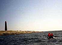 Поход членов ТСМ на остров Топ. Сражение с течением на резиновой шлюпке. Август 2002 г.