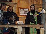 Благодарственный молебен с освящением выставки проводит о.Савватий