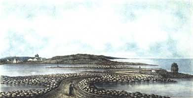 Дамба, гравюра 1884 г.