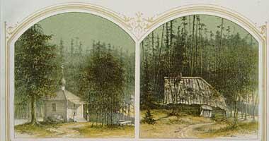 Пустынь преп. Елеазара Анзерского, гравюра XIX века