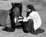 Людмила Евгеньева и лошадка Осень. Фото В.Близнюка. 2007 г.