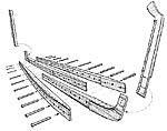 Илл. 5. Староманерная конструкция киля и его соединение со штевнями