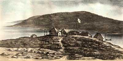 Троицкая спасательная станция на острове Анзер. Литография 1884 г.