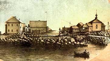 Свято-Андреевский скит на острове Большой Заяцкий. Литография 1884 г.