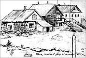 Анзер. Баня, скотный двор и млечный дом. 08.07.1934 г. Рисунок из материалов А.А.Евневича и П.К.Казаринова