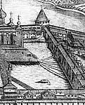Илл. 6. Южный ряд келейной застройки до возведения ц. Филиппа. Фрагмент гравюры А. и И. Зубовых 1744 г. (до перегравировки)