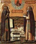 Прп. Зосима и Савватий Соловецкие с обителью. Икона в.п. XVII в. Такие живописные иконы-пядницы в большом количестве изготовлялись в монастыре и раздавались как монастырское благословение приходящим паломникам.