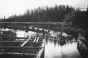 Сплав леса по каналам. Фото 1920-х гг.