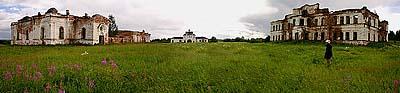 Панорама Богоявленского Кожеозерского монастыря. Лето 2006 г.