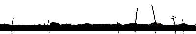 Илл.1. Силуэт южной части Большого Каменного мыса. Вид с северо-востока. Цифрами обозначены зафиксированные кресты