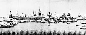 Илл. 5. Вид Соловецкого монастыря со стороны моря. Рис.Васильева, 1790 г.