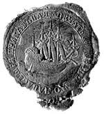 Приказная печать Соловецкого монастыря XVIII в. с изображением трехмачтового судна (лодьи)