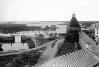 Вид на монастырский док и навань Благополучия,    1899 г.