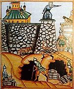 Осада монастыря. Рисунок из старообрядческой книги «История отцов и страдальцев соловецких